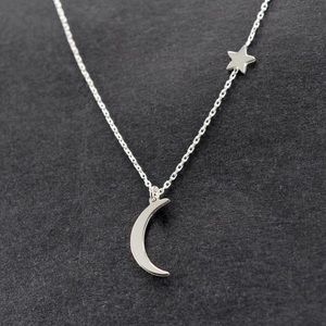 Star & Moon Pendant Necklace Silver